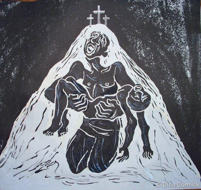 1987.  Lenten Poster. linocut