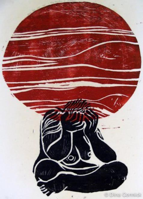 1987. Woman & World. woodcut 250X350mm.