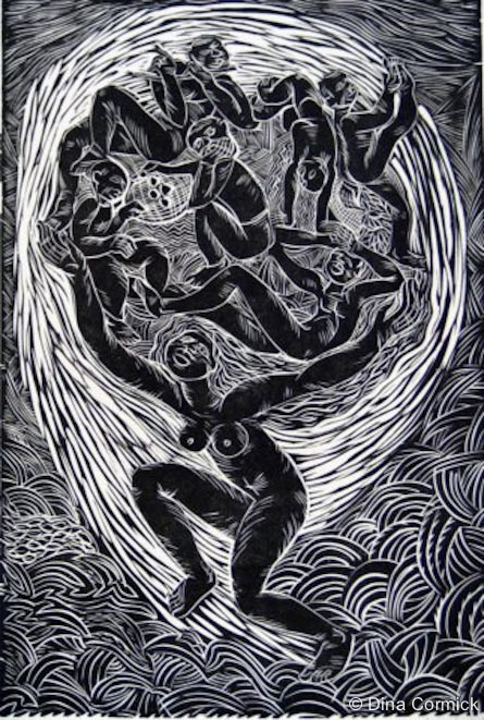 1998. A Mother's Journey. linocut 200x390mm.