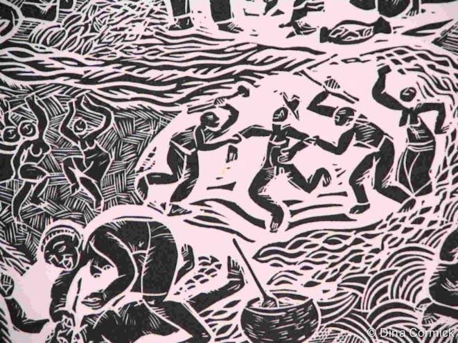 1998. Amou & Duang linocut [detail]