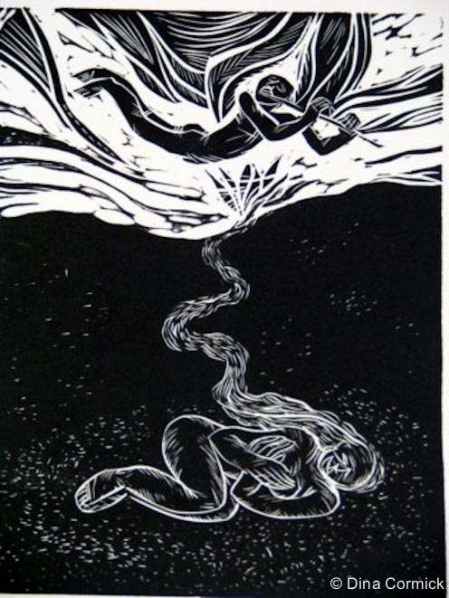 1998. Marta's goldenhair. linocut 150x200mm.