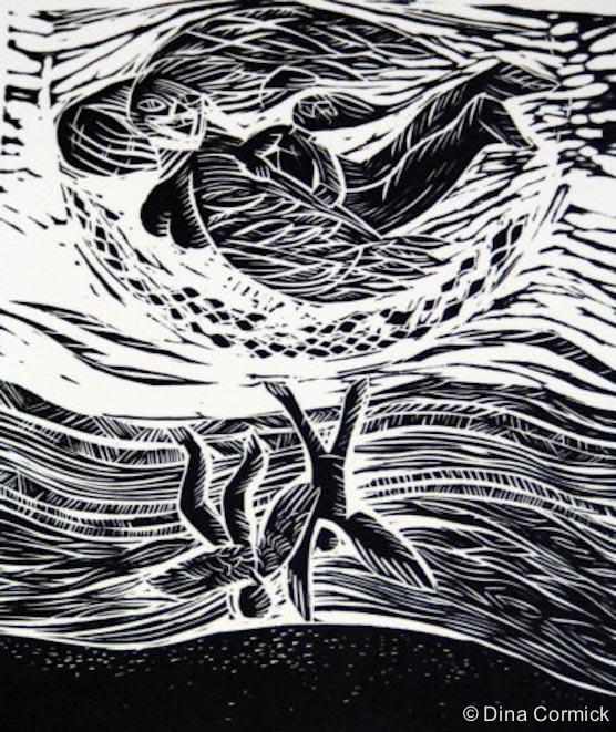 1998. Motherbird. linocut 150x200mm.