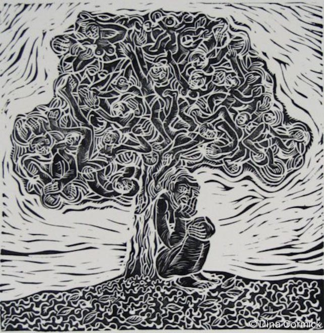 1998. Musiwa & the Tree. linocut 310x303mm.