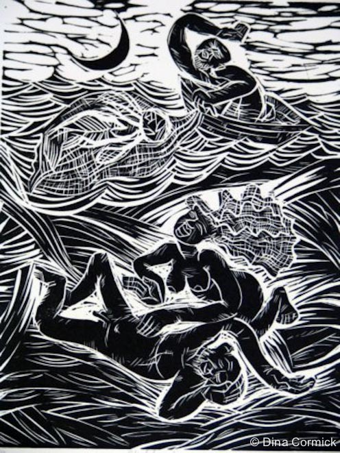 1998. Skeleton Woman. linocut 150x200mm.