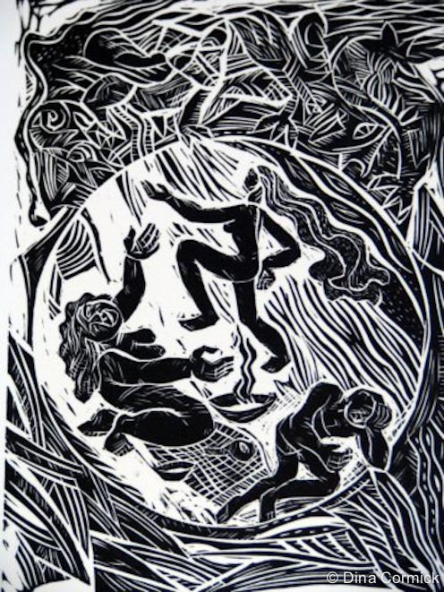 1998. Thembe's Quest linocut 150x200mm.