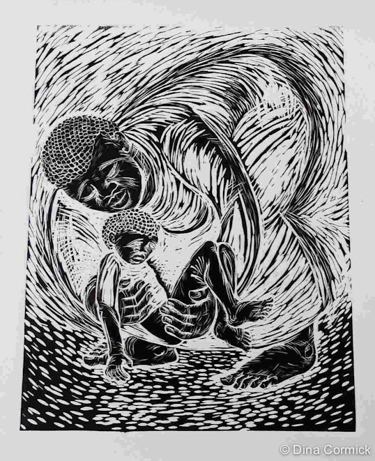 2006. How often do we bend down to help a child. linocut 419x319mm.